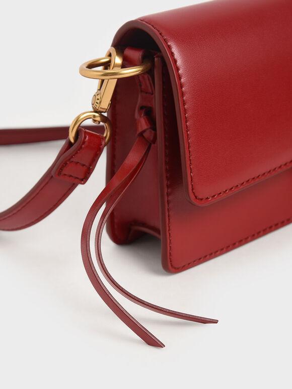 D字釦單肩包, 紅色, hi-res