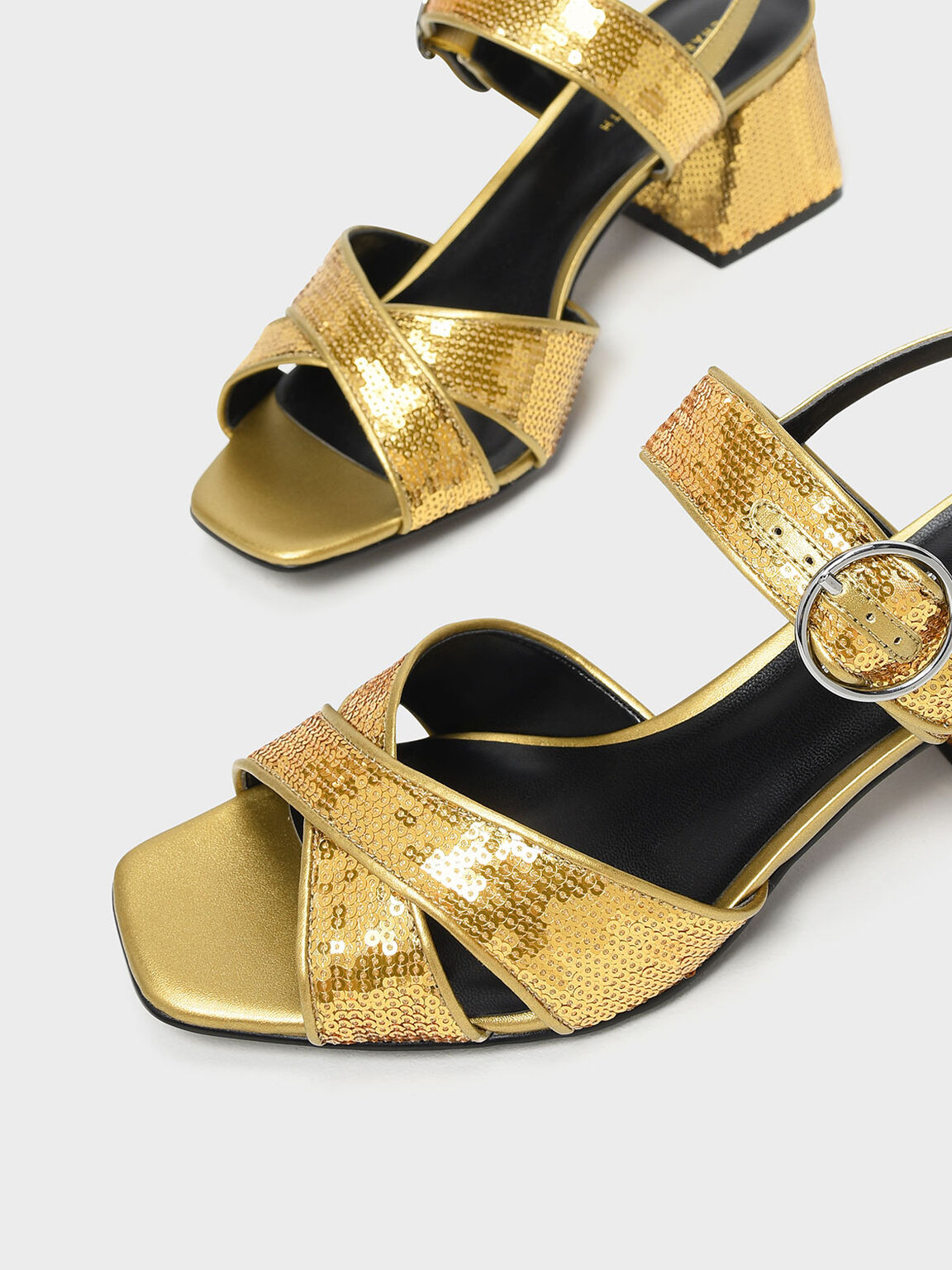 Sequin Detail Heeled Sandals, Gold, hi-res