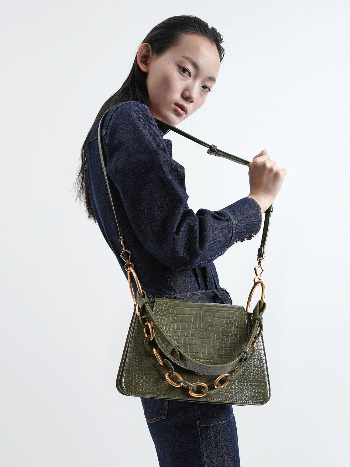 Croc-Effect Chunky Chain Link Shoulder Bag, Olive, hi-res