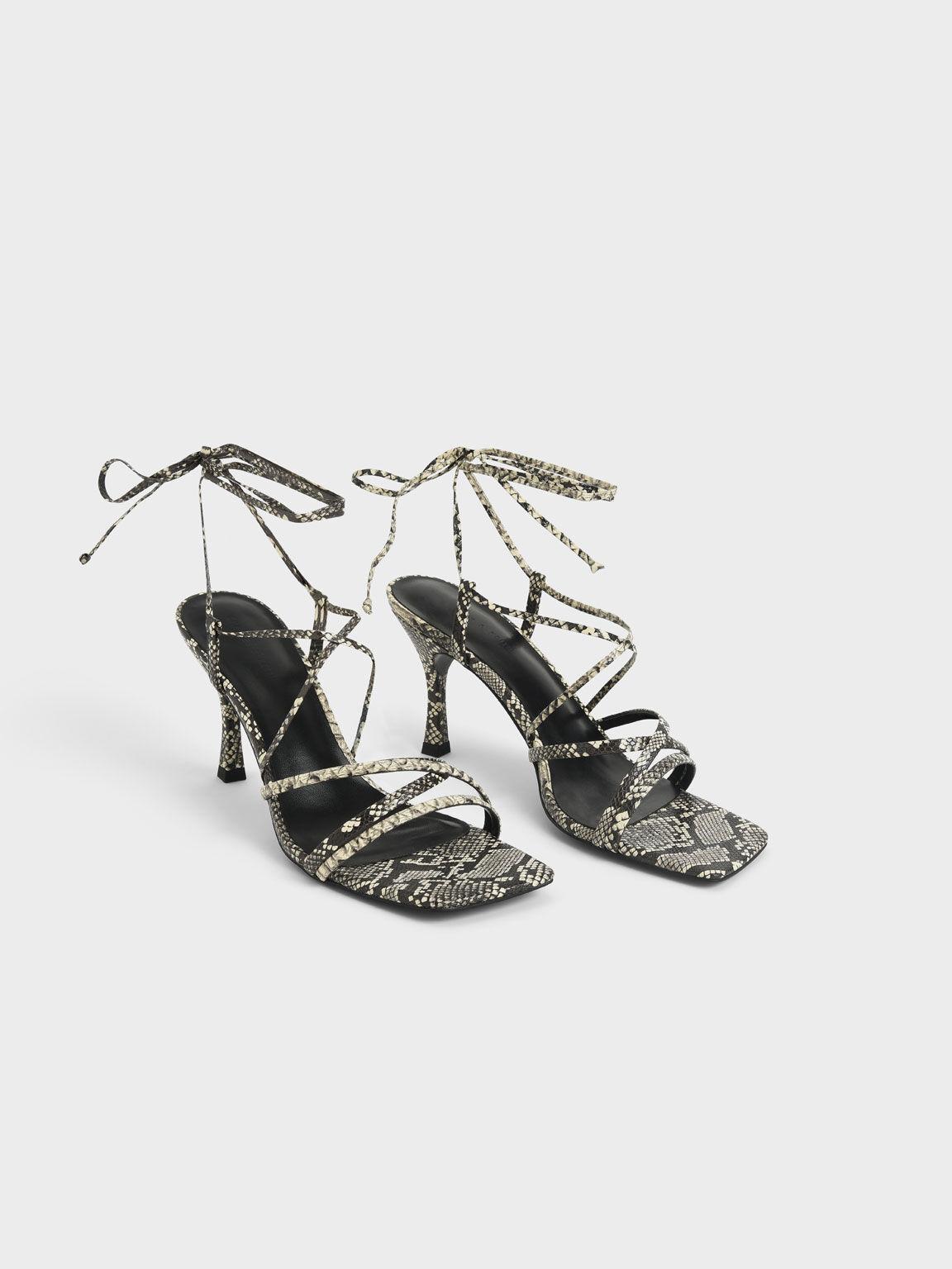 蛇紋交叉綁帶涼鞋, 原色動物紋, hi-res