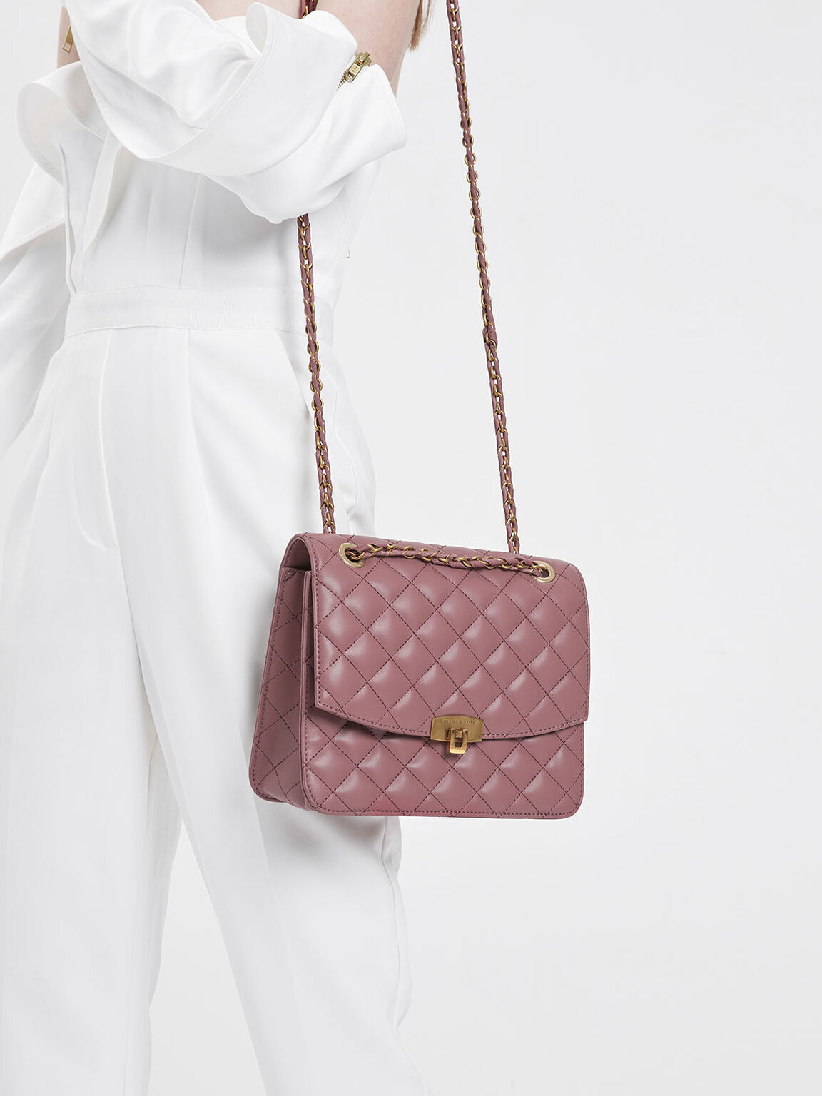 Quilted Push-Lock Clutch, Rose, hi-res