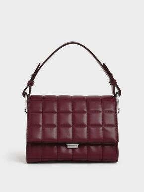 Quilted Push Lock Handbag, Burgundy