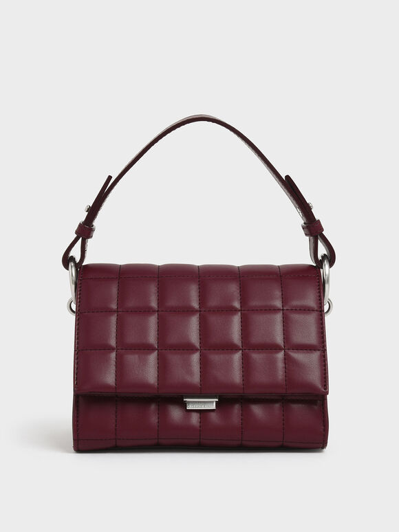 Quilted Push Lock Handbag, Burgundy, hi-res