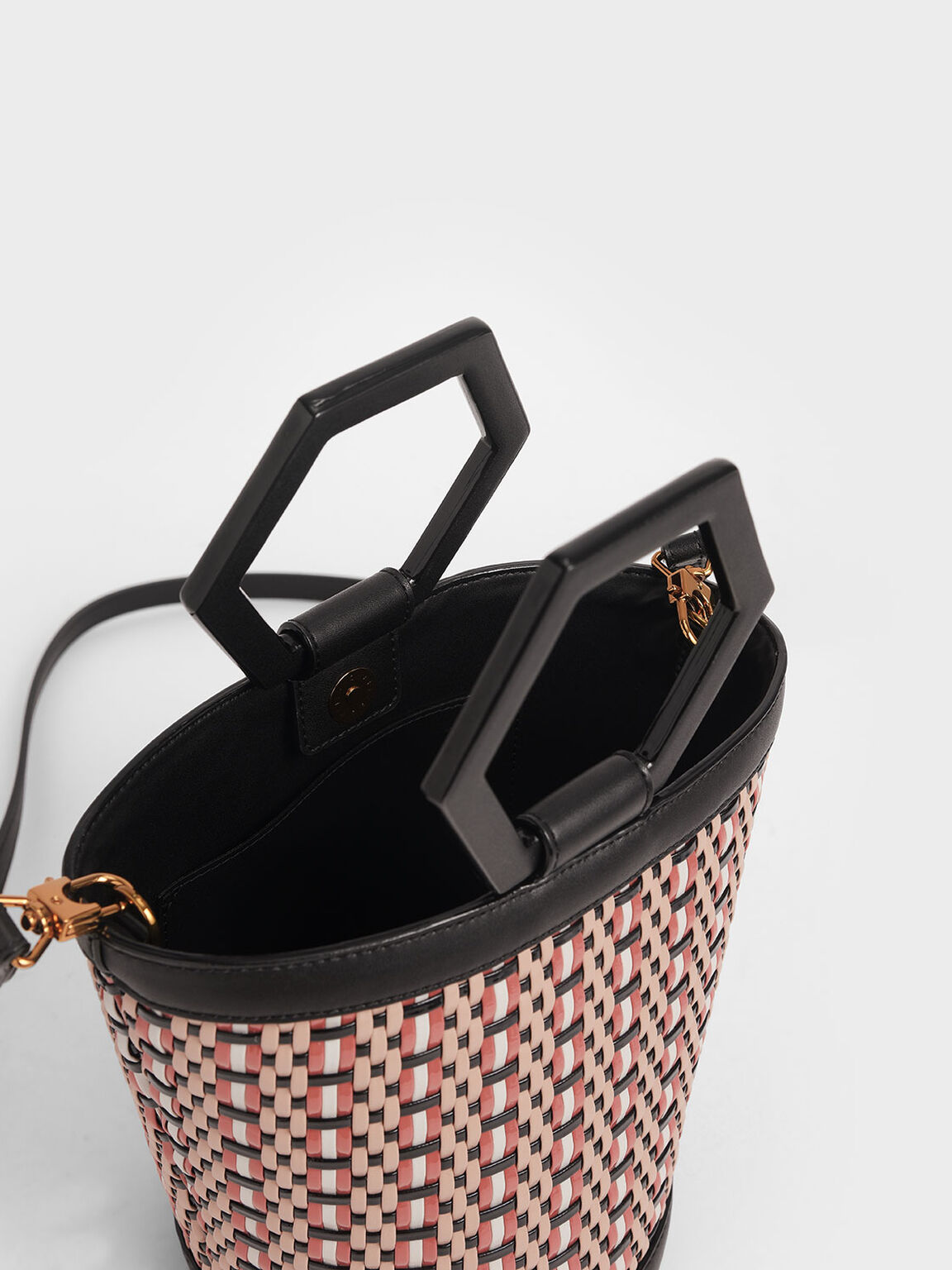 Geometric Handle Woven Bucket Bag, Multi, hi-res