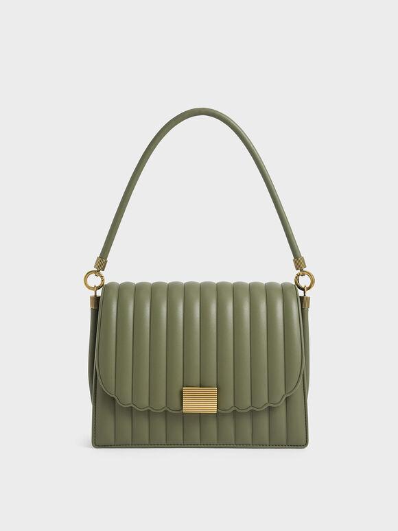 Panelled Shoulder Bag, Olive, hi-res