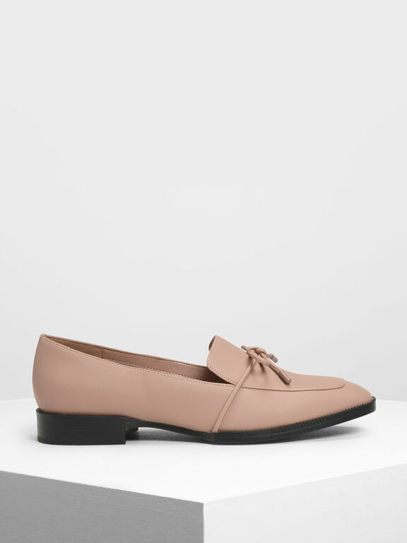 Bow Detail Loafers, Nude