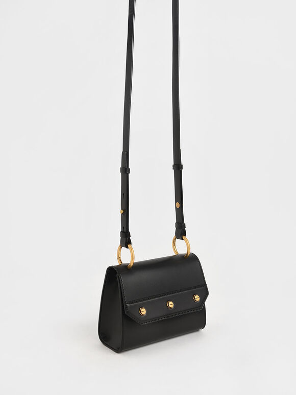 Studded Top Handle Bag, Black, hi-res