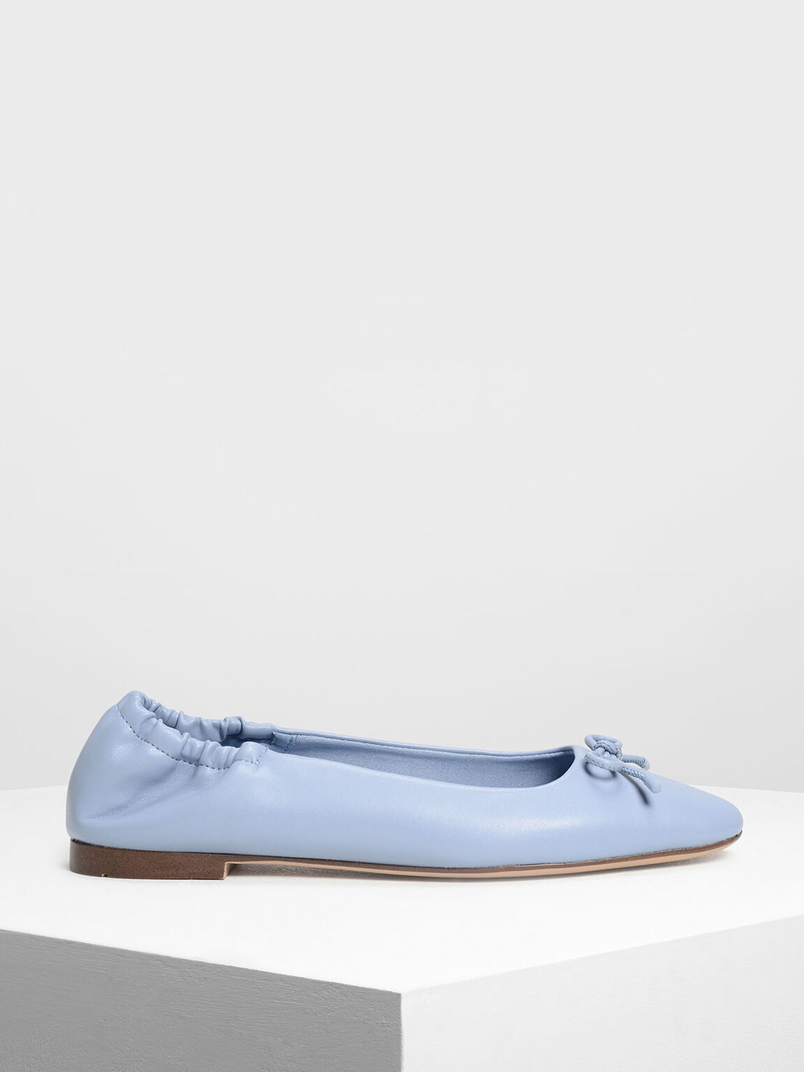 Bow Ballerina Flats, Light Blue, hi-res