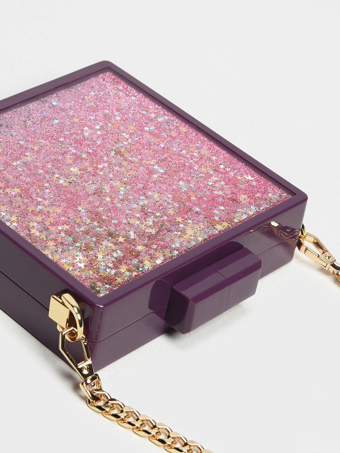 金蔥硬殼方包, 紫色, hi-res
