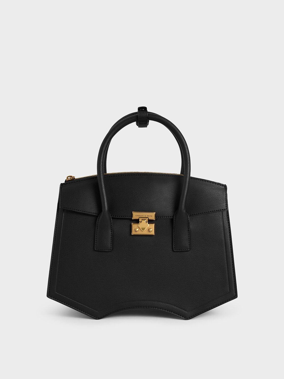Double Handle Sculptural Tote Bag, Black, hi-res