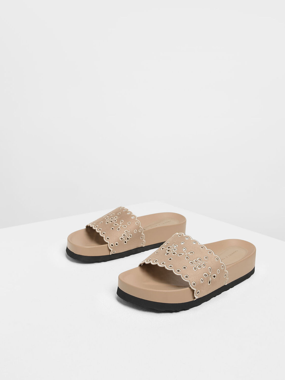 Scalloped Floral Suede Slide Sandals, Beige, hi-res