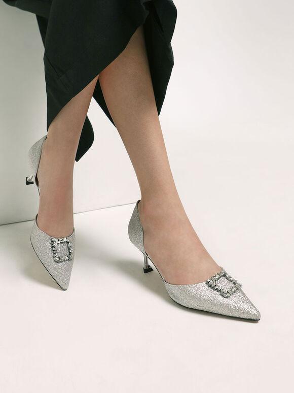 婚禮系列:金蔥寶石方釦奧賽鞋, 銀色, hi-res