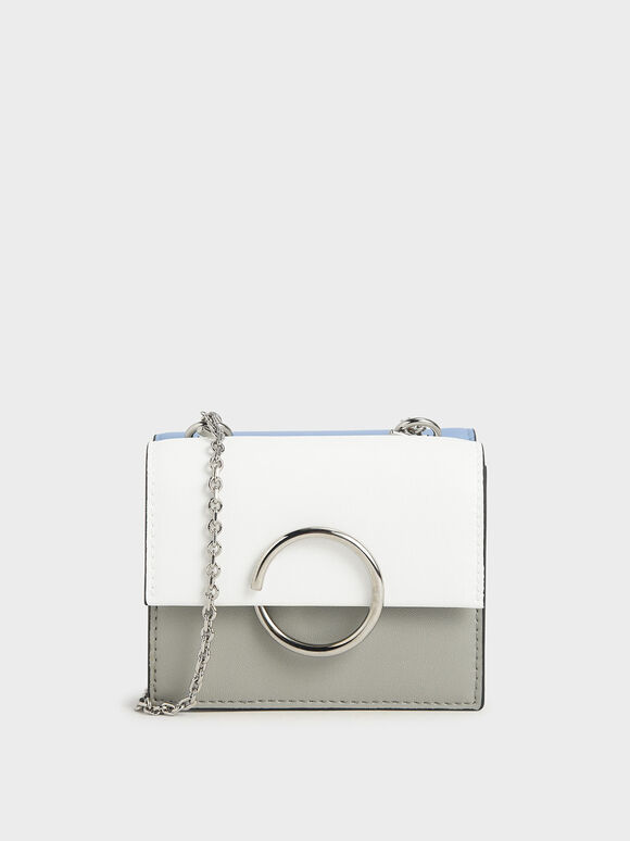 Two-Tone Ring Detail Short Wallet, Grey, hi-res