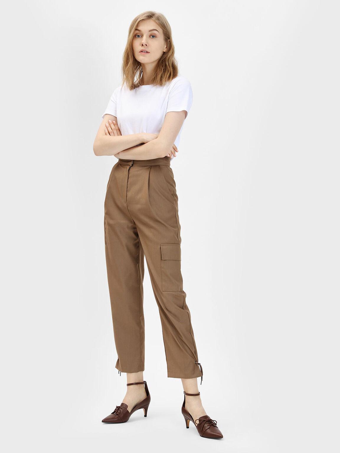 Ankle Strap Pointed Heels, Brown, hi-res
