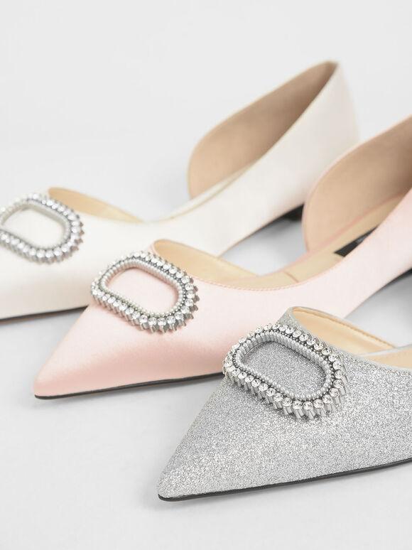 Wedding Collection: Embellished Glitter Ballerina Flats, Silver, hi-res