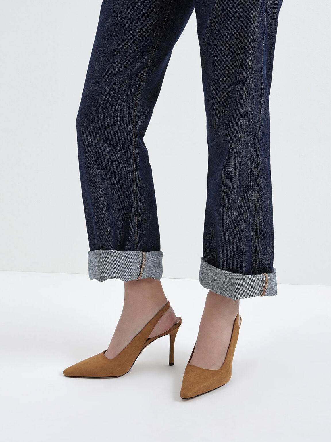Textured Stiletto Heel Slingback Pumps, Caramel, hi-res