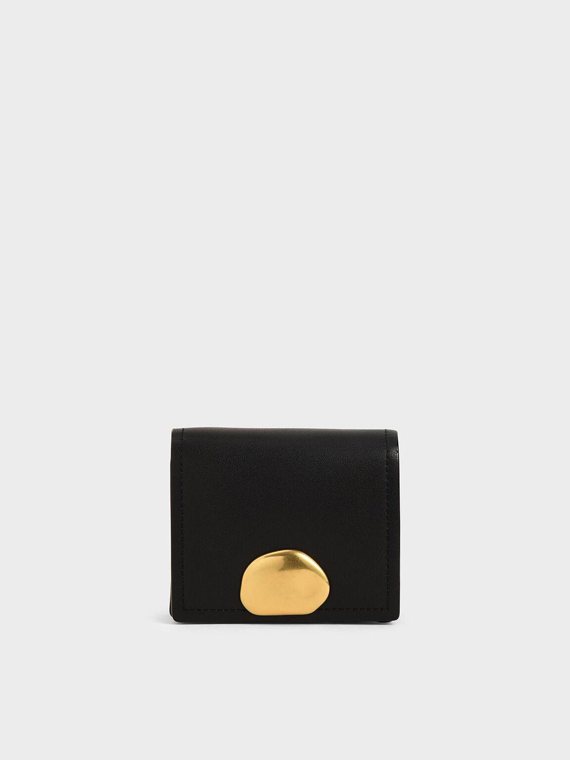Metallic Accent Snap Button Card Holder, Black, hi-res