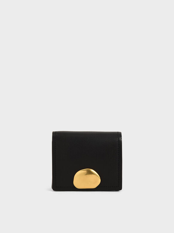 Metallic Accent Snap Button Card Holder, Black, hi-res