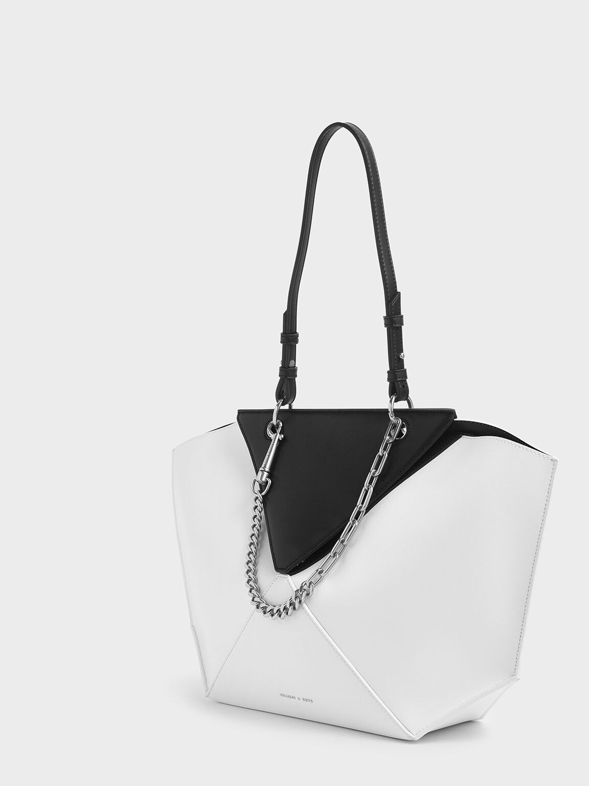 Two-Tone Thin Chain Handle Sculptural Tote, White, hi-res