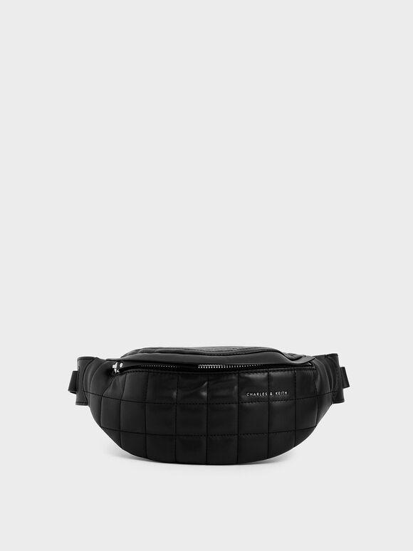 Quilted Belt Bag, Black, hi-res