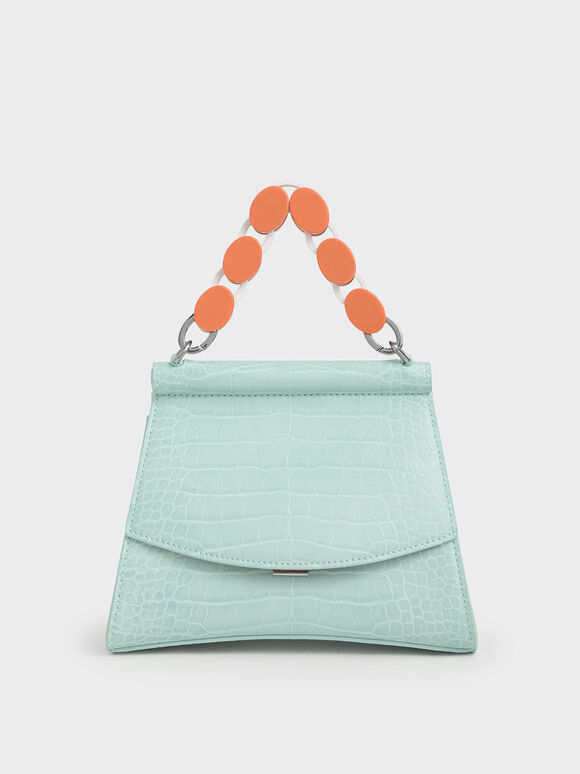 Croc-Effect Acrylic Handle Sculptural Bag, Mint Blue, hi-res