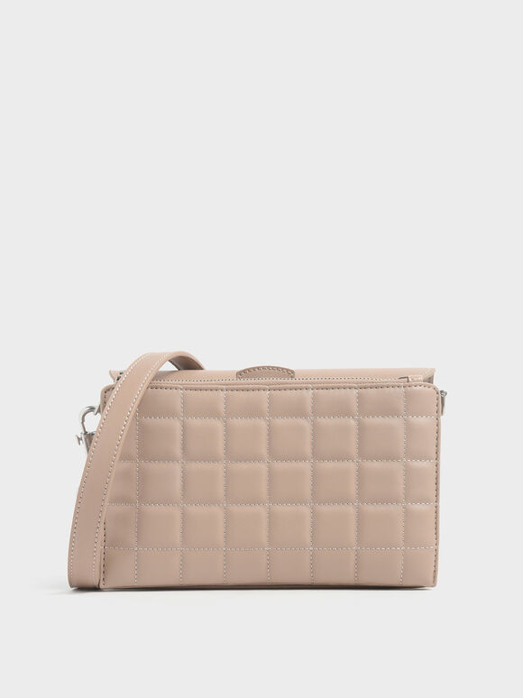 Removable Quilted Pouch Boxy Shoulder Bag, Beige, hi-res