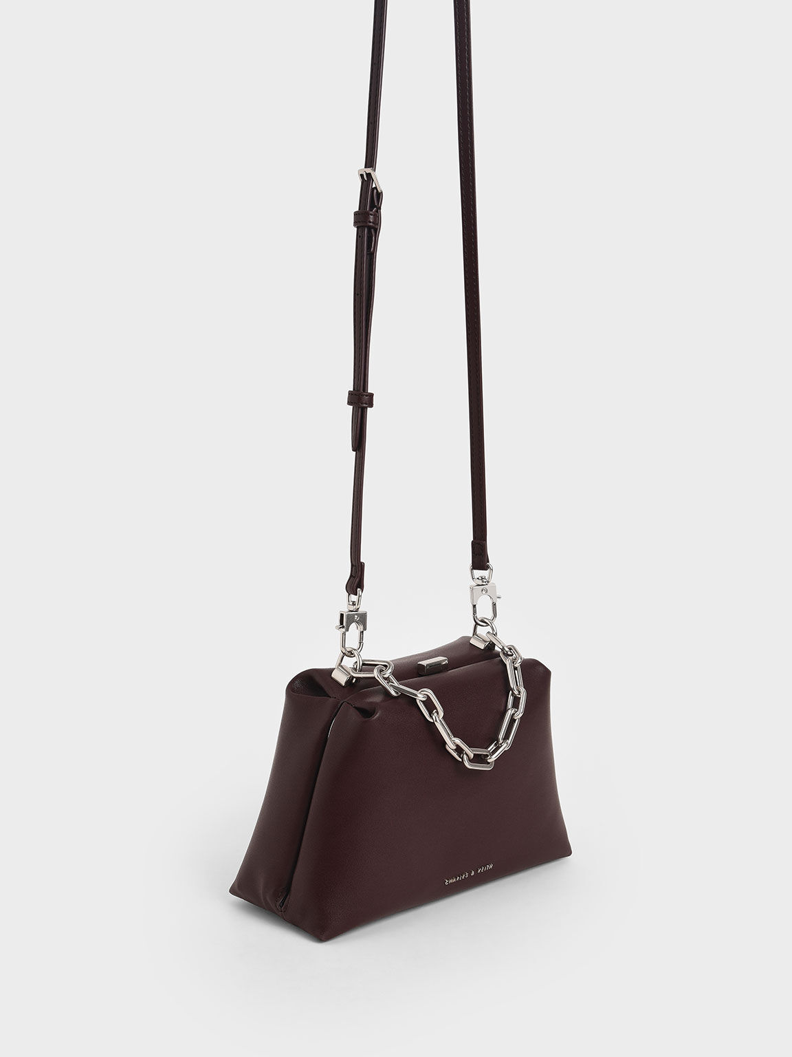 Chain Top Handle Bag, Maroon, hi-res