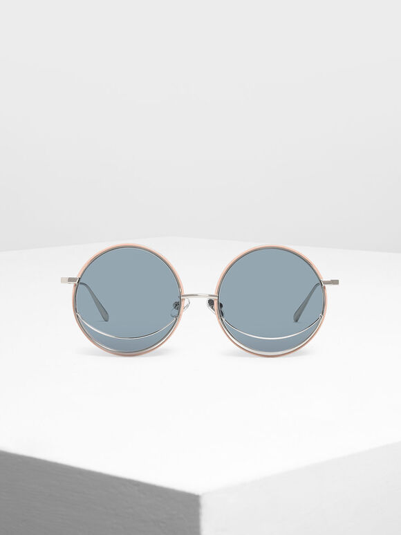 Circle Frame Sunglasses, Blue, hi-res