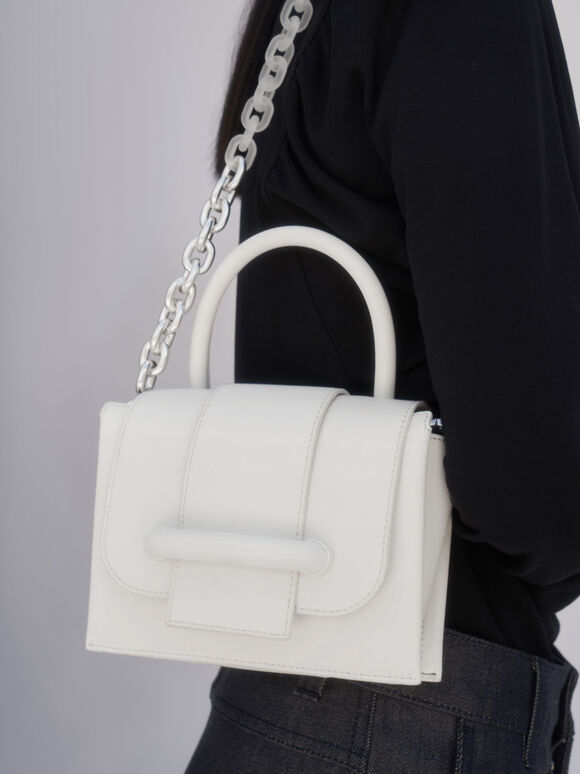 Chain Strap Mini Bag, White, hi-res