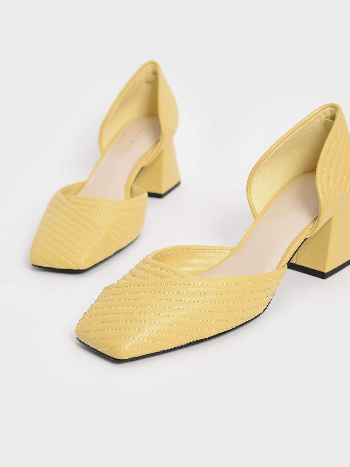 Stitch-Trim D'Orsay Pumps, Yellow, hi-res