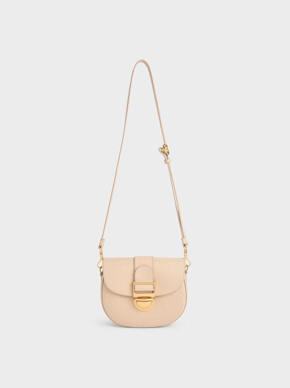 Amelia Metallic Push-Lock Crossbody Bag, Beige, hi-res