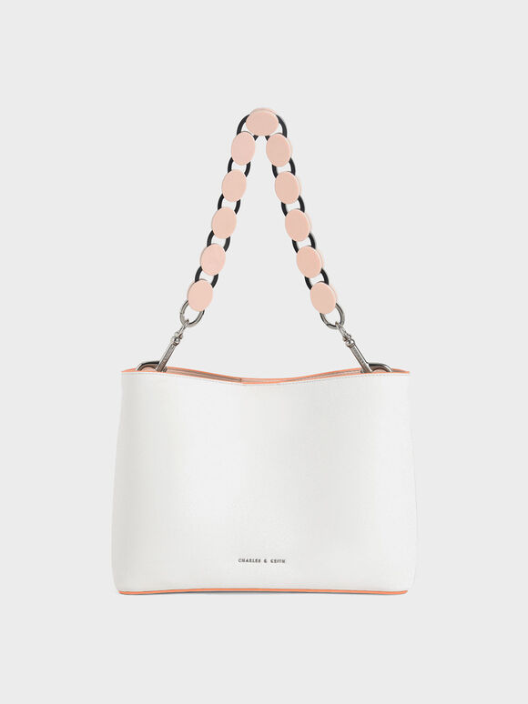 Acrylic Handle Bucket Bag, White, hi-res