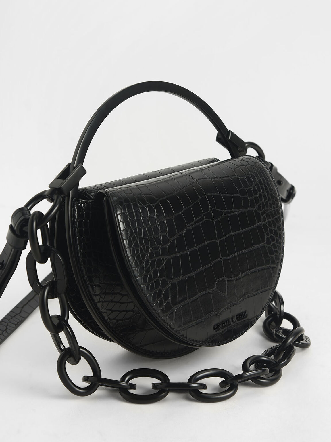 Croc-Effect Semi-Circle Clutch, Black, hi-res