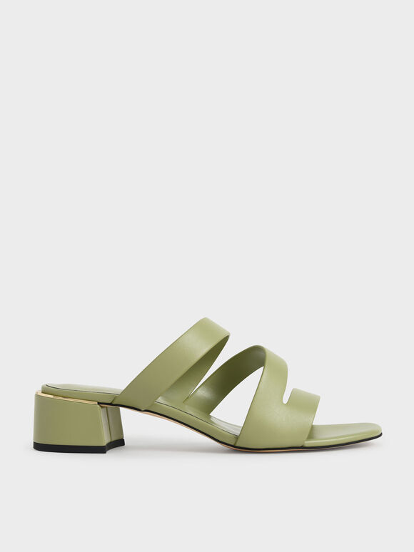 Molly Chiang Collection: Strappy Asymmetric Mules, Sage Green, hi-res