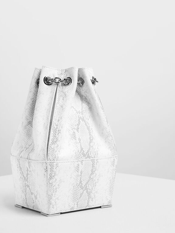 Chain Handle Snake Print Bucket Bag, White, hi-res