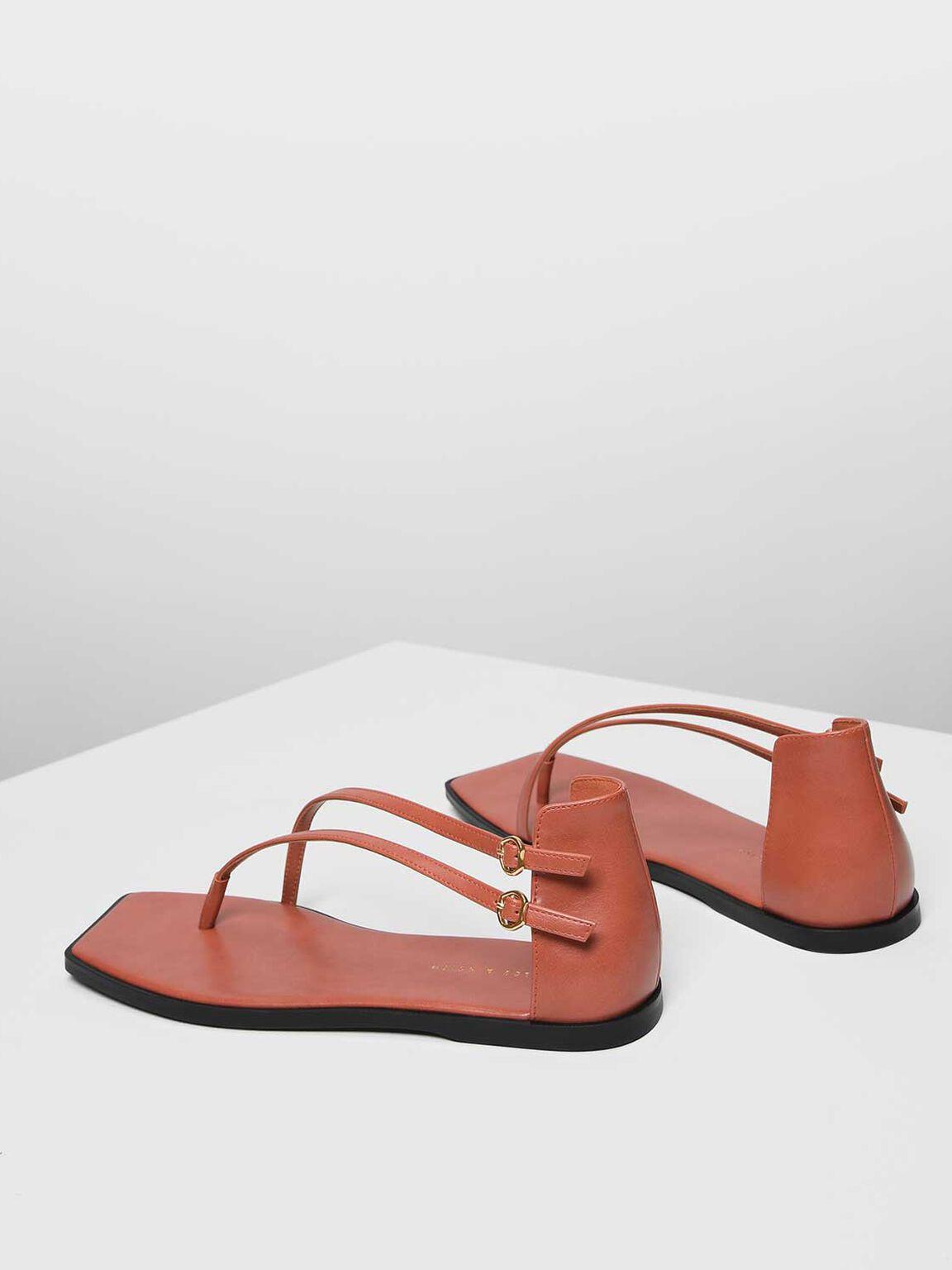 Asymmetrical Strap Thong Sandals, Orange, hi-res