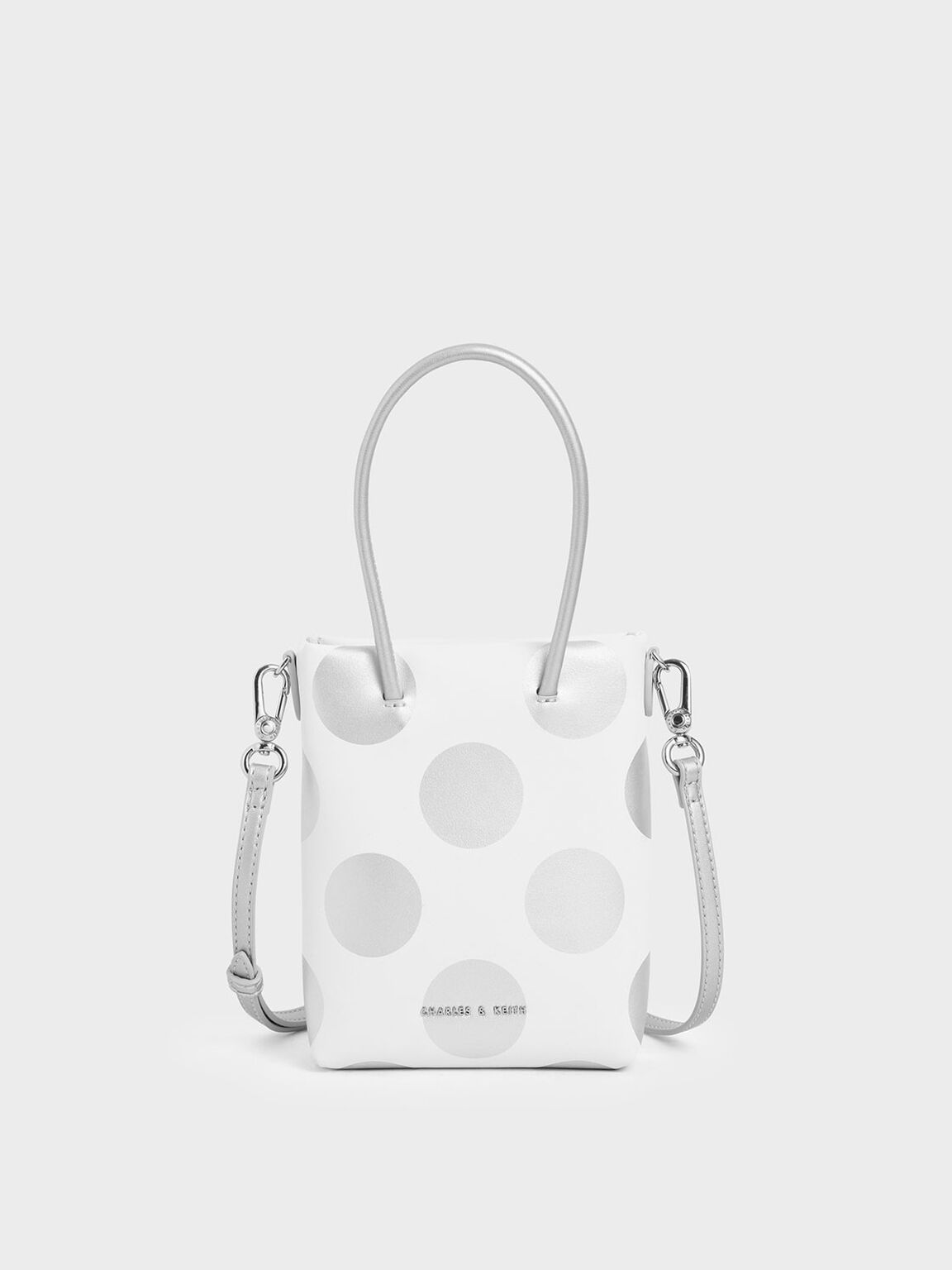 Girls' Dot Motif Tote Bag, White, hi-res