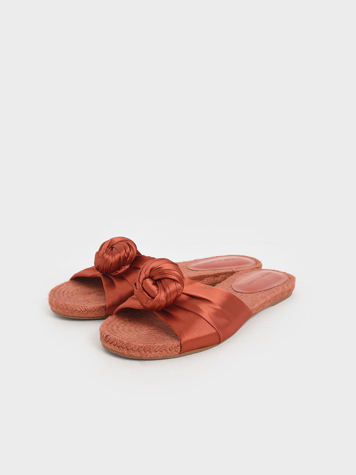 Satin Knot Espadrille Slide Sandals, Orange, hi-res