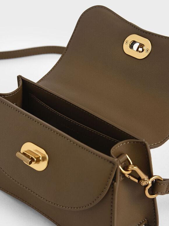 Padded Chain Link Bag, Khaki, hi-res