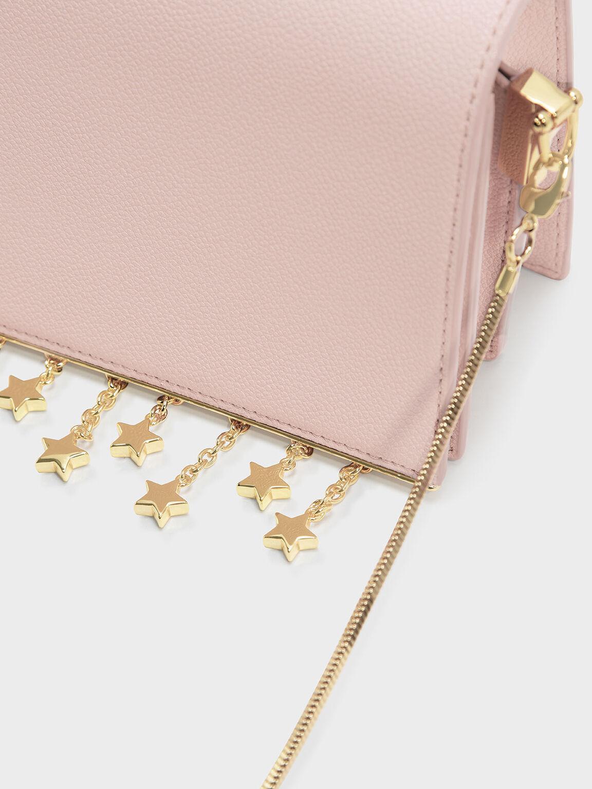 Charm Detail Crossbody Bag, Pink, hi-res