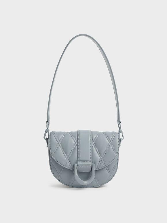 Mini Gabine Quilted Saddle Bag, Steel Blue, hi-res