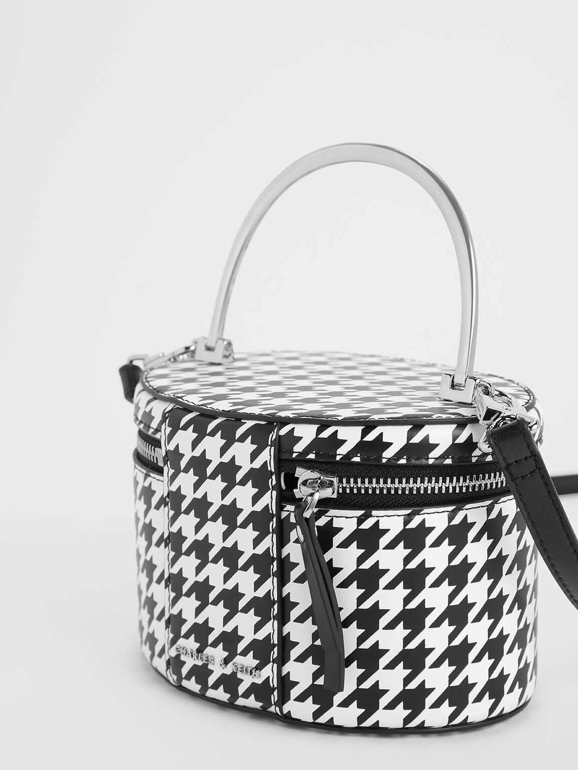 Metal Top Handle Houndstooth Print Round Structured Bag, Multi, hi-res