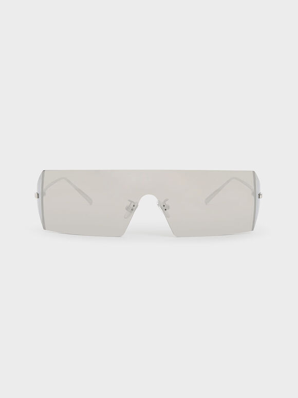 Rectangular Shield Sunglasses, Silver, hi-res