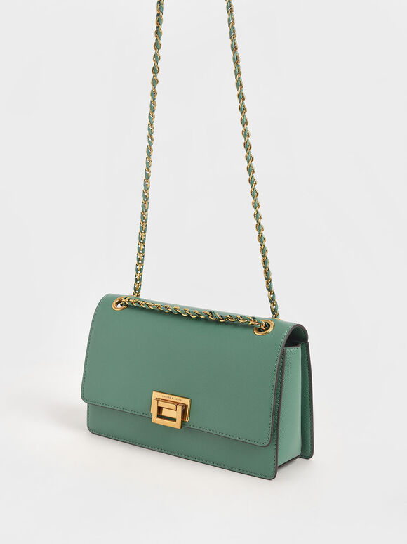 Chain Strap Evening Bag, Green, hi-res