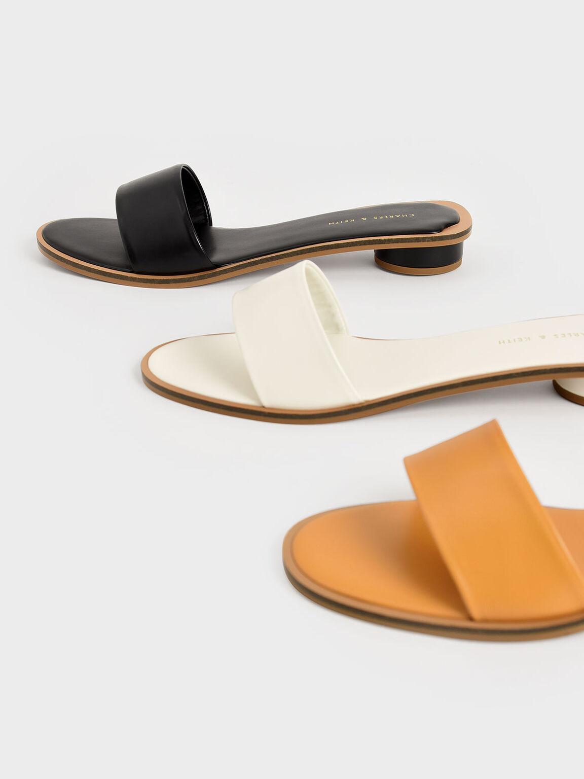 Two-Tone Slide Sandals, Black, hi-res