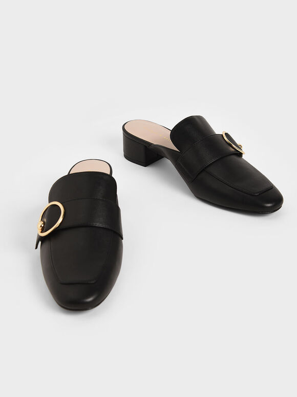 金屬環穆勒鞋, 黑色, hi-res