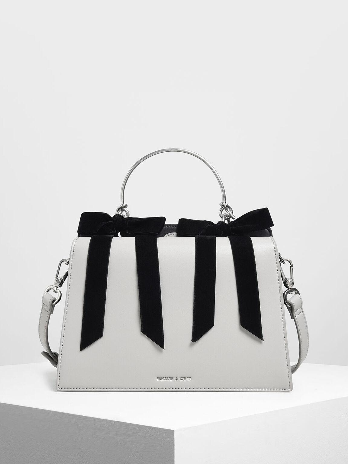蝴蝶結手提包, 灰色, hi-res