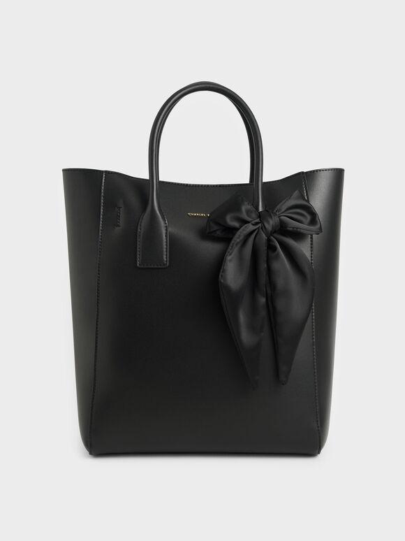 Bow Tote Bag, Black, hi-res