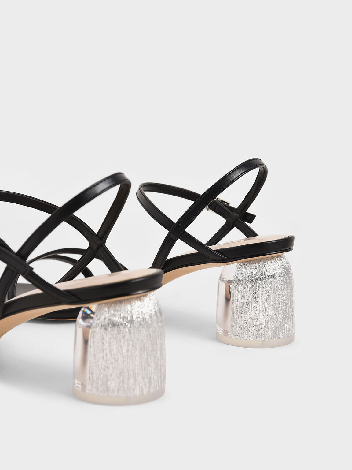 Strappy Sculptural Heel Sandals, Black, hi-res