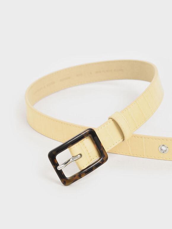Croc-Effect Mid Waist Belt, Yellow, hi-res